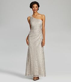 Calvin Klein One-Shoulder Lace Gown, tithe dress I'm wearing to my brothers wedding! :)