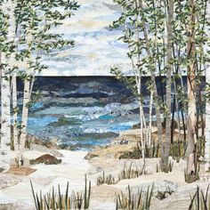Lake Collage, quilt by Anne Loveless