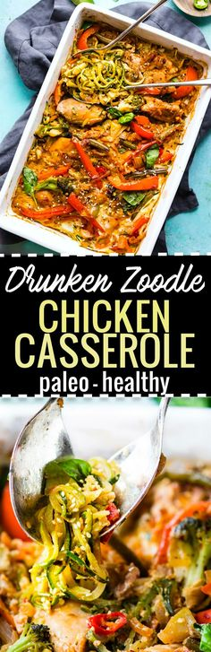 This Paleo Chicken Casserole is a lighter spin on Thai Pad kee mao stir fry. Drunken Chicken Zoodle Casserole recipe is healthy, lower carb, easy to make! Paleo Chicken Casserole, Zoodle Casserole, Casserole Recipes, Paleo Recipes, Low Carb Recipes, Kee Mao, Drunken Chicken, Asian Stir Fry, Spiralizer Recipes