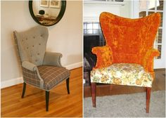 wing back chair makeover