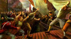 American civilians storming a British merchant ship, Boston Tea Party