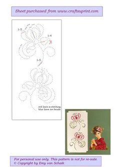 ED042 Floral 2 on Craftsuprint designed by Emy van Schaik - Stitching with beads - Now available for download!