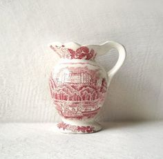 Vintage Ironstone Pink Transfer Creamer by MomsantiquesNthings