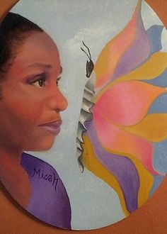 Self portrait in oil by Me. Reminds me that I am a naturally beautiful and a colorful woman.  Copyrighted.  Micah 7