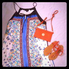 $10 Sale Woman's  Summer Dress Woman's Orange&Blue summer dress size 16 Dresses Asymmetrical