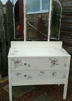 Antique dressing table/ drawers painted white with butterfly decoupage & mirror