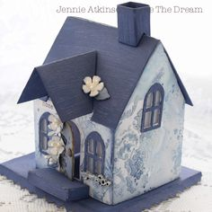 Live The Dream: Jennie Atkinson The Little Blue House Tim Holtz Die Christmas Villages, Christmas Home, Christmas Crafts, Christmas Decorations, Doll House Crafts, Home Crafts, Diy And Crafts, Putz Houses, Village Houses