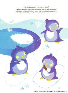 Schrijfpatroon pinguïn voor kleuters, free printable