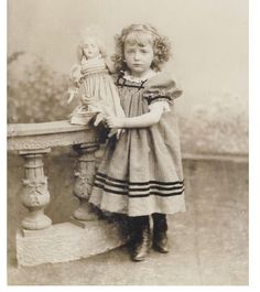 Pretty Little Girl with Doll Toy Cabinet Photo 1890s Child Dress Fashion