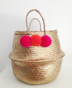Gold Pink Orange Pom Poms Sea Grass Belly Basket by TalaHomeDesign