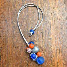 Blue & Orange Bubble Bunch Resin Bead Necklace – Strat Designs Hand Made Australia Cluster Necklace, Blue Orange, Resin, Bead, Australia, Jewelry, Beads, Jewlery, Schmuck