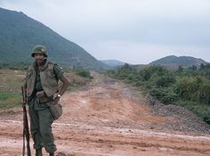Soldier of the 39th Engineer Battalion along Road 535, 1968