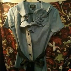 $6 last chance NWT Adrianna Papell Metallic blue mint condition. Adrianna Papell Tops Blouses