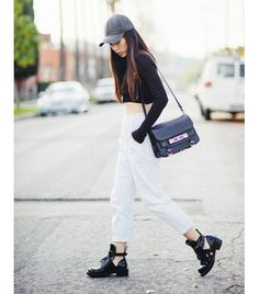 @Who What Wear - On Jenny Ong of Neon Blush: Zara top; Finders Keepers joggers; Balenciaga Ceinture Ankle Boots ($1275) in Black; Proenza Schouler PS11 Classic Bag ($1950); H&M hat.