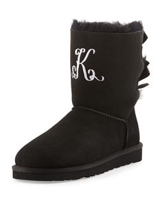 Monogrammed+Bailey+Bow-Back+Short+Boot,+Black+by+UGG+Australia+at+Neiman+Marcus.