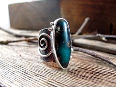 Through The Wood Ring Rustic Sterling Silver Statement Ring Green Gem Silica Ring Asymmetrical Spiral Ring SALE 20% OFF