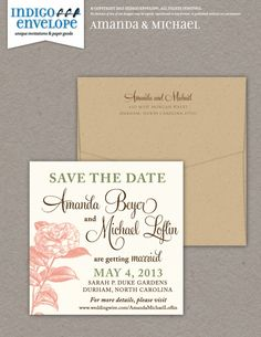 A square invitation requires extra postage, but is a clever and imaginative way to express yourselves as a couple. #botanicalwedding #indigoenvelope
