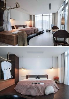 """BEDROOM DESIGN IDEA - Place Your Bed On A Raised Platform // The curved platform holding the bed in this hotel room adds a unique design element to the space and is in keeping with the """"ripple"""" name of the hotel."""