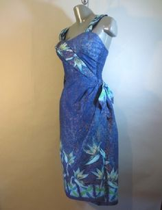 509eb5f721e1 1950's Shaheen Sarong Dress With Button Shoulder Sash // Blue and Gold  'Metallic' // Side Tie, Shoulder Straps, Metal Zipper...28