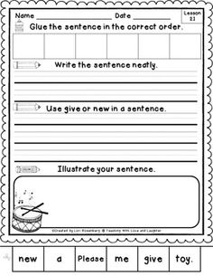 Kindergarten Journeys Sentence Puzzles