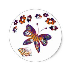 Caterpillar Into Stunning Butterfly Classic Round Sticker - graduation stickers grad sticker idea unique customize diy Diy Stickers, Round Stickers, Graduation Stickers, Caterpillar, Make Your Own, Butterfly, Classic, Unique, Party