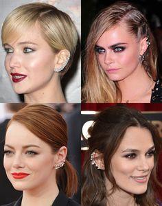 Jennifer Lawrence, Cara Delevingne, Emma Stone, & Keira Knightley in ear cuffs.
