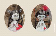 Illustration of Alice and Lorina Liddell. By Glenda Sburelin