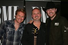 """Cory Batten (left), Kent Blazy and Chris Young at the BMI No. 1 party for """"Gettin' You Home (Little Black Dress)"""" on Nov. 24, 2009 Photo By: Marilu White"""