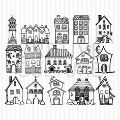 Illustration Enfant Hand Drawn Houses – Printable Clipart, Digital Stamps for Scrapbook … Doodle Drawings, Doodle Art, Easy Drawings, House Doodle, Doodles, House Drawing, Art Graphique, Digital Stamps, Colouring Pages