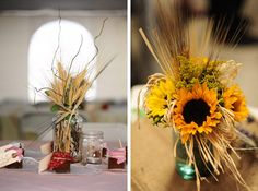 sunflower centerpieces in mason jars   The centerpieces were mason jars filled with sunflowers and wheat and ...