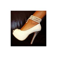 Buy Elegant White Peep Toe Pearl Ankle Strap High Heel Shoes at Wish - Shopping Made Fun Hot Shoes, Crazy Shoes, Women's Shoes, Me Too Shoes, Shoe Boots, Fancy Shoes, Ugg Boots, Bling Shoes, Glitter Shoes