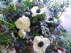 Winter design of whites, blues, grays, by Evanston florist, FlowersFlowers
