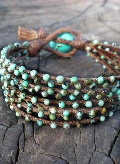 ☮ American Hippie Bohéme Boho Style Jewelry ☮ Turquoise wrap bracelet