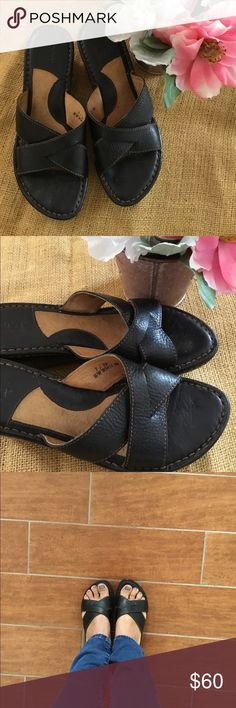 Born Black & Brown Leather Slip-On Mules Very Comfortable Born Sandals Women Size 7 Born Shoes Sandals
