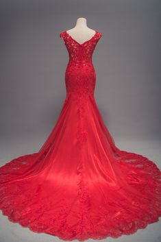 Mermaid Red Lace Evening Dress,Red Lace and Tulle Wedding Dress sold by Sancta Sophia. Shop more products from Sancta Sophia on Storenvy, the home of independent small businesses all over the world. Red Lace Wedding Dress, Wedding Dress Types, Informal Wedding Dresses, Classic Wedding Dress, Formal Dresses For Weddings, Tulle Wedding, Red Wedding, Wedding Stuff, Wedding Ideas