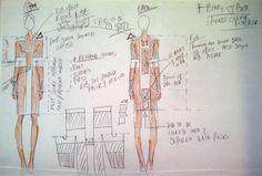 Fashion Sketchbook - fashion design sketches & notes - dress development; fashion designer's process // Adele Parker