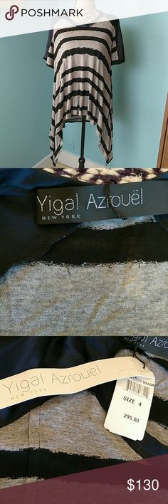 "Yigal Azrouel flowy top Short sleeves, soft, flowy beautiful fabric, navy blue with grey and black stripes. Looks great with dark skinny jeans. Laid flat, armpit to armpit measures 20"", size 4, but I am a medium and it fits me great.I will consider any reasonable offer !!! Bundle 2 or more items and get a 10% discount !!!! :-) Yigal Azrouel Tops Tees - Short Sleeve"