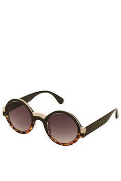 Colour Block Round Sunglasses