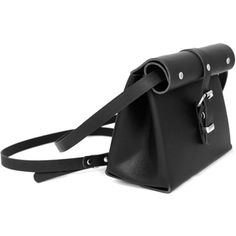 C.S Rolltop Mini Black (€130) ❤ liked on Polyvore featuring bags, handbags, shoulder bags, black, genuine leather purse, foldover purse, fold over purse, miniature purse and leather handbags