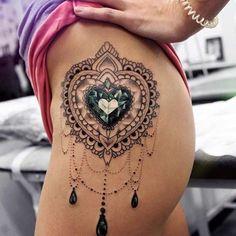 45 Badass Thigh Tattoo Ideas for Women Side Thigh Heart Mandala Tattoo Design Love the tattoo, not the placement 15 Bad-Ass Thigh Tattoo Cool Thigh Tattoos forHorny Thigh Tattoos For G Gem Tattoo, Jewel Tattoo, Lace Tattoo, Tattoo Circle, Tattoo Sleeves, Trendy Tattoos, Sexy Tattoos, Body Art Tattoos, Cool Tattoos