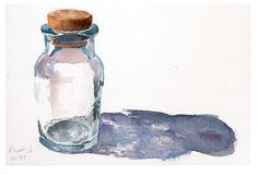 Glass Bottle in Watercolor
