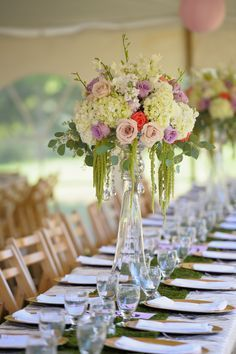 Tall floral centerpieces lined the reception tables. Trumpet Vase Centerpiece, Floral Centerpieces, Wedding Centerpieces, Wedding Table, Wedding Bouquets, Floral Arrangements, Tall Centerpiece, Tent Wedding, Flower Bouquets