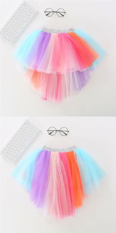 Royal Gift/&Craft/® Girls Layered Rainbow Tutu Skirt Dance Dress Ruffle Tiered Hairclip