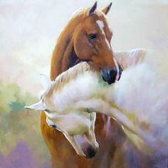 """арт.19234 """"Объятия пары лошадей"""" [35*35] Алмазная мозаика"""