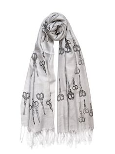 This Antique Scissors scarf, made of gray viscose and silk, certainly is one sharp accessory. Each scarf is hand-printed with an original scissors pattern. Want this for my gma! Summer Scarves, Clothes Horse, Work Clothes, Work Attire, Swagg, Fashion Accessories, Neck Accessories, Jewelry Accessories, Style Me