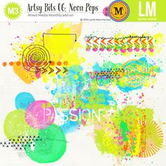 This set of 6 artsy paint clusters in bright neon colours was created to match the July 2016 Mixed Media Monthly collection. It is a fabulous splash of colour for any neutral base.