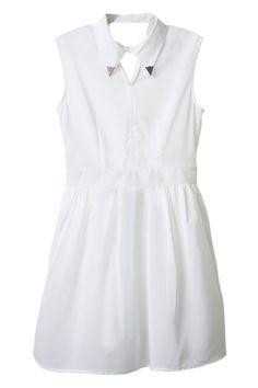 Metal Buckle Embellished Lapel White Dress#Romwe