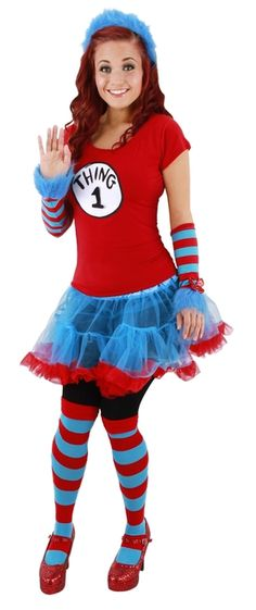Thing 1 or 2 Ladies Tutu Costume - This is a Thing 1 or 2 tutu costume. This is a cute and flirty take on the mischievous creatures from Dr. Seuss's Cat in the Hat story.  This three-piece costume comes with a shirt, tutu skirt and headband. The shirt is a red babydoll t-shirt with the Thing 1 or 2 logo on the front. There are removable numbers included with the shirt so you can decide to be either Thing 1 or Thing 2. #costume #calgary #yyc #drseuss #thing1or2 #rhymetime #storybook