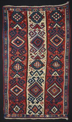 Antique Hand Woven Kurdish Kilim Area Rug // Anatolian Van Hakkari // Size 4x7 ft.