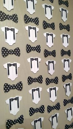 Bow Tie, Suspender Onesie Paper Garland Double-Sided Black and White Polka Dot Streamers, Baby Shower, Birthday Party, Baby Nursery by thepapercove on Etsy